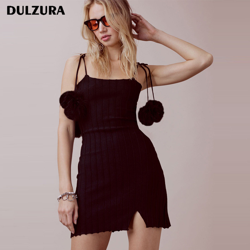 Dulzura sexy knitted mini dress Women fitness sleeveless bodycon dress Summer elegant party dress female sundress