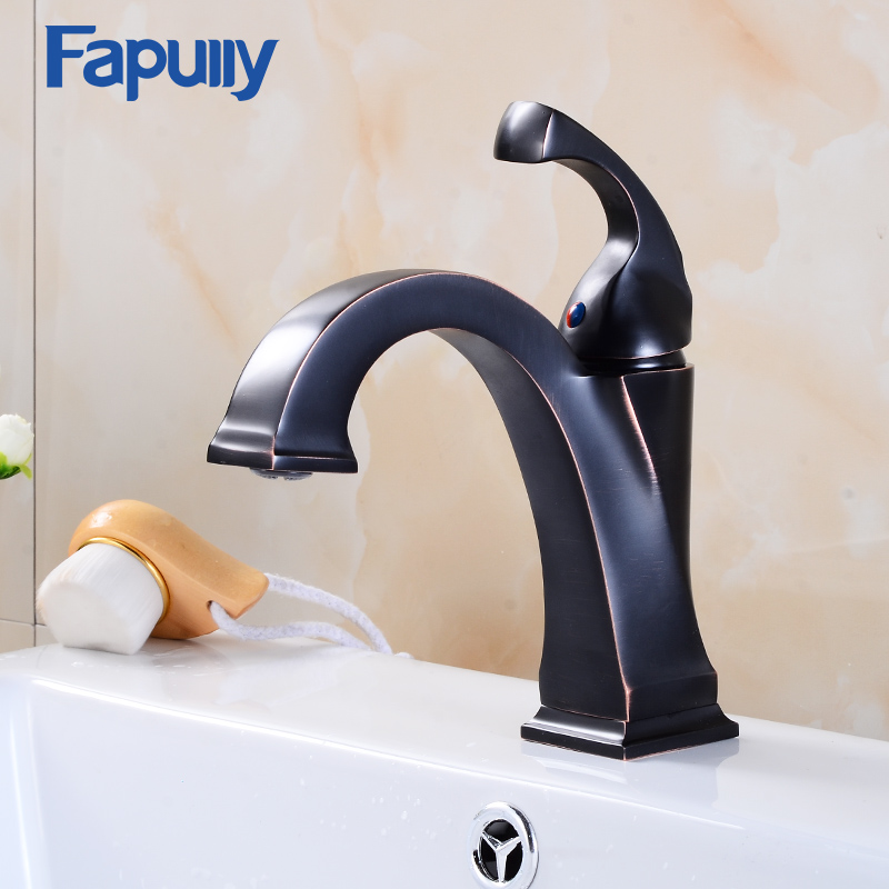 Fapully best basin tap push down faucet oil rubbed bronze bathroom taps single handle