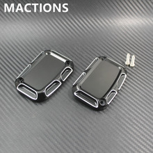 Black And Cast Chrome Aluminium CNC Left and right Front Brake Reservoir Cylinder Cover Fit Harley
