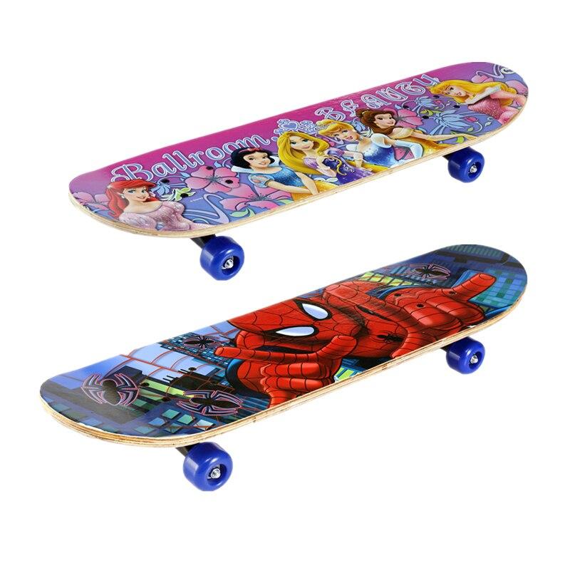 Bois d'érable quatre roues planches à roulettes en bois professionnel Longboard dérive planche à roulettes dessin animé impression Spider Man/Iron Man enfants cadeau