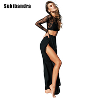 Sukibandra Summer Sexy Black Two Piece Set Dress Lace Crop Sheer Long Sleeve Top High Split