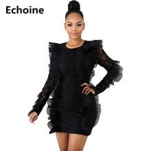 все цены на Women Lace See Through Mini Dress Long Sleeve Ruffle Elegant Party Dress Sexy Bodycon Club Outfit Vintage Female Vestidos Summer