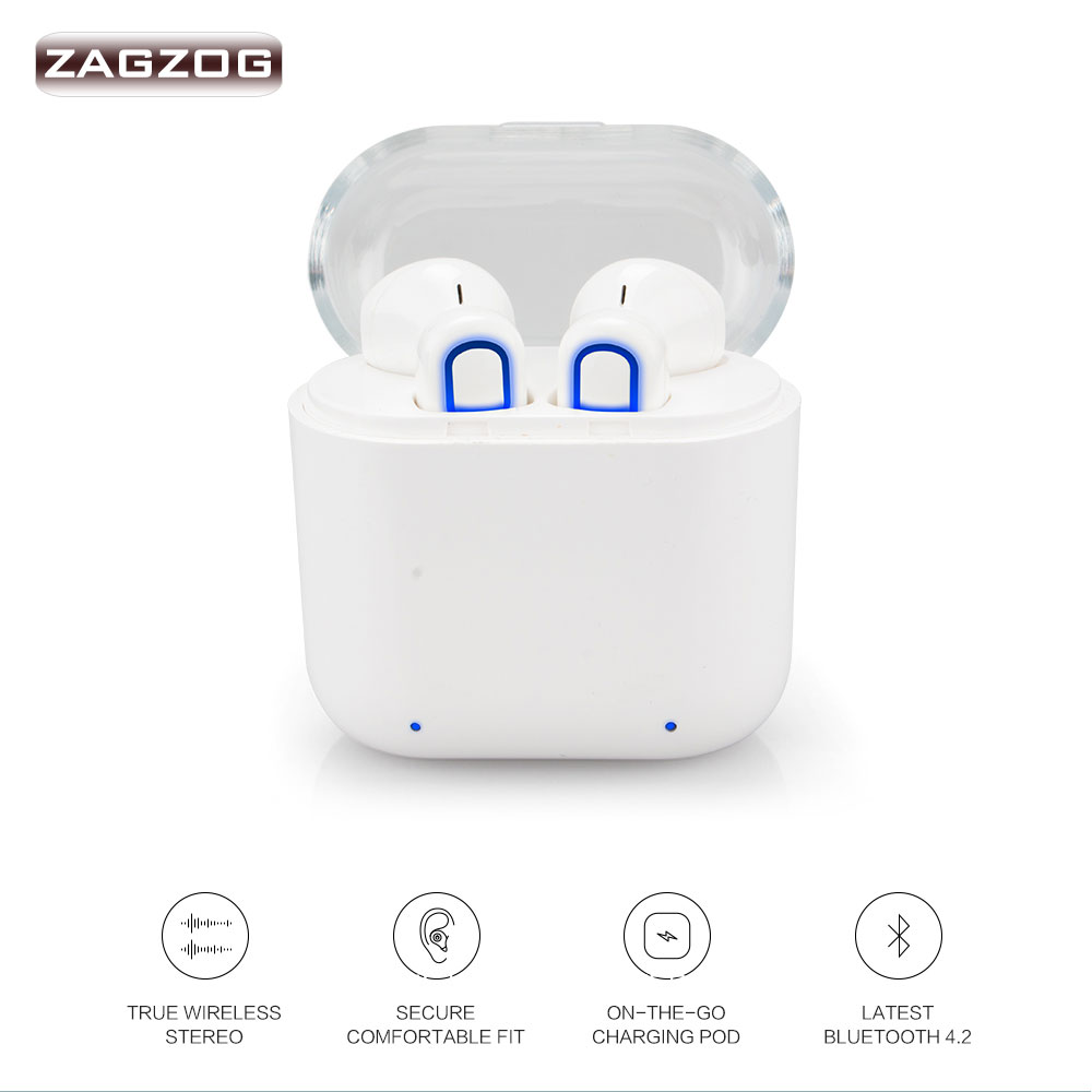 Zagzog Bluetooth Sport Headsets Wireless Earphone with Mic Mini Stereo Music for xiaomi iphone 7 7P 8 X Samsung Galaxy s9 s8 lymoc v8s business bluetooth headset wireless earphone car bluetooth v4 1 phone handsfree mic music for iphone xiaomi samsung