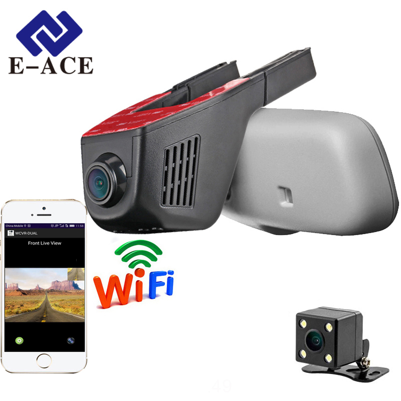 E ACE Car Dvr WIFI DVRs Dual Camera Lens Registrator Dashcam Digital Video Recorder Camcorder Full HD 1080P 30FPS Night Version