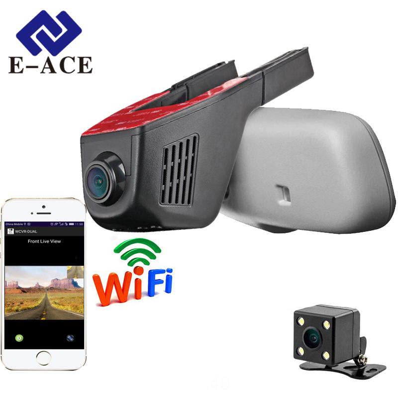 Prix pour E-ACE Voiture Dvr WIFI Dvr Double Objectif de la Caméra Registrator Dashcam Vidéo Numérique Enregistreur Caméscope Full HD 1080 P 30FPS Nuit Version