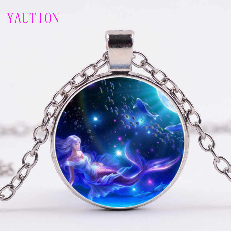 3/Color Mermaid Pendant Necklace Mythological Picture Jewellery Women Link Chain Glass Cabochon Necklaces