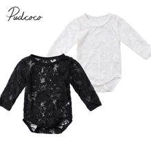 2018 Brand New Newborn Toddler Infant Baby Girls Summer Lace Sunsuit Jumpsuit Bodysuit Solid Playsuit Long Sleeve Clothes 0-18M(China)