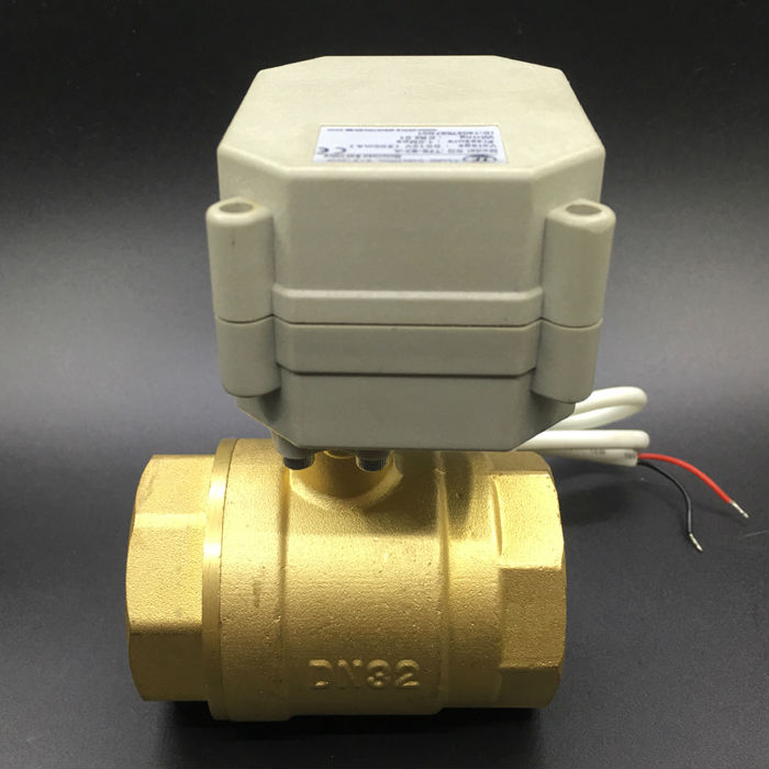 DC12V DC24V BSP/NPT Brass 1-1/4'' Electric Motorized Valve 2/3/5/7 Wires 2-Way DN32 Motorized Ball Valve TF32-B2-A 1 1 4 electric valve 2way dn32 brass electric ball valve 5 wires 110v to 230v motorized valve with signal feedback