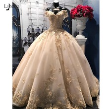 Wedding-Dress Bridal-Gowns Champagne Dubai-Light Appliques Floral Lace Pearls Beaded