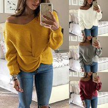 Womens Autumn Long Sleeve Knitted Sweaters Off Shoulder Solid Color V-Neck Pullover Tops Twist Cross Knotted Front Loose Jumper brown cross straps front round neck slit hem knitted jumper