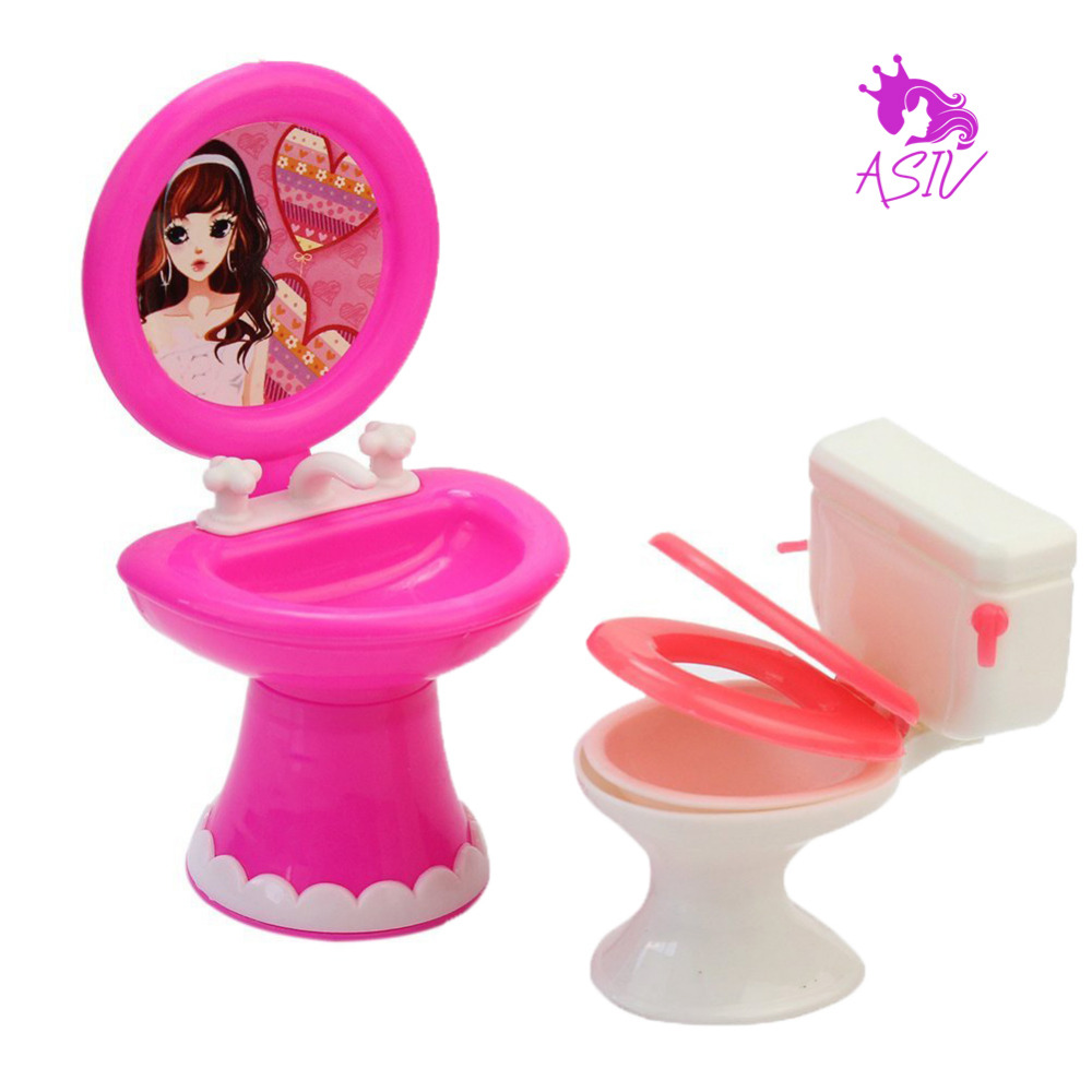 Cheap purple bathroom accessories - Bathroom Furniture Accessories Plastic Toilet And Sink Set For Doll S House For Barbie Dolls Furniture Accessories