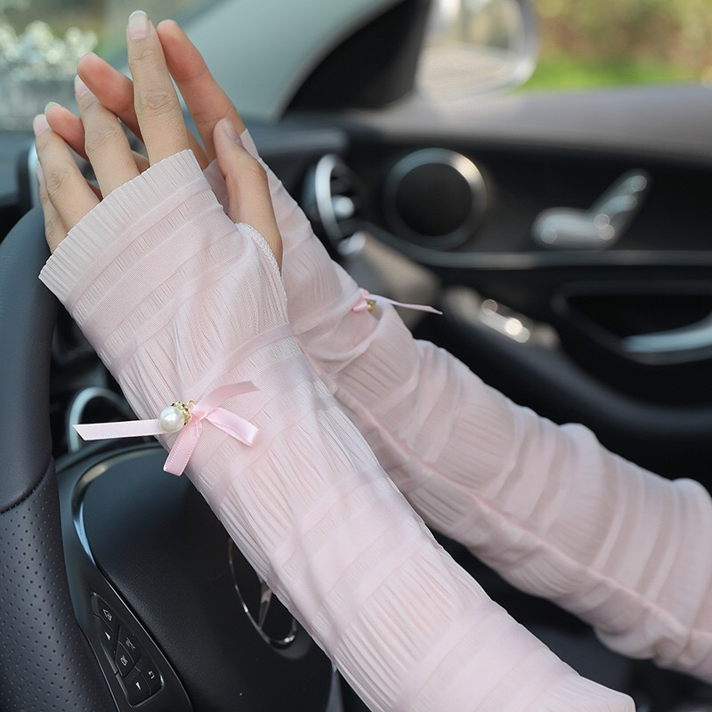 Summer Sunscreen Silk Sleeves Drive Womens Sexy Thin Gloves Summer Lace Gloves Driving Lace Guantes Guantes Sin Dedos Para Mujer