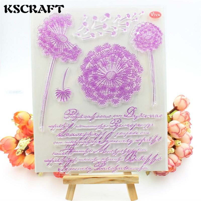 KSCRAFT Dandelion Transparent Clear Silicone Stamps for DIY Scrapbooking/Card Making/Kids Crafts Fun Decoration Supplies