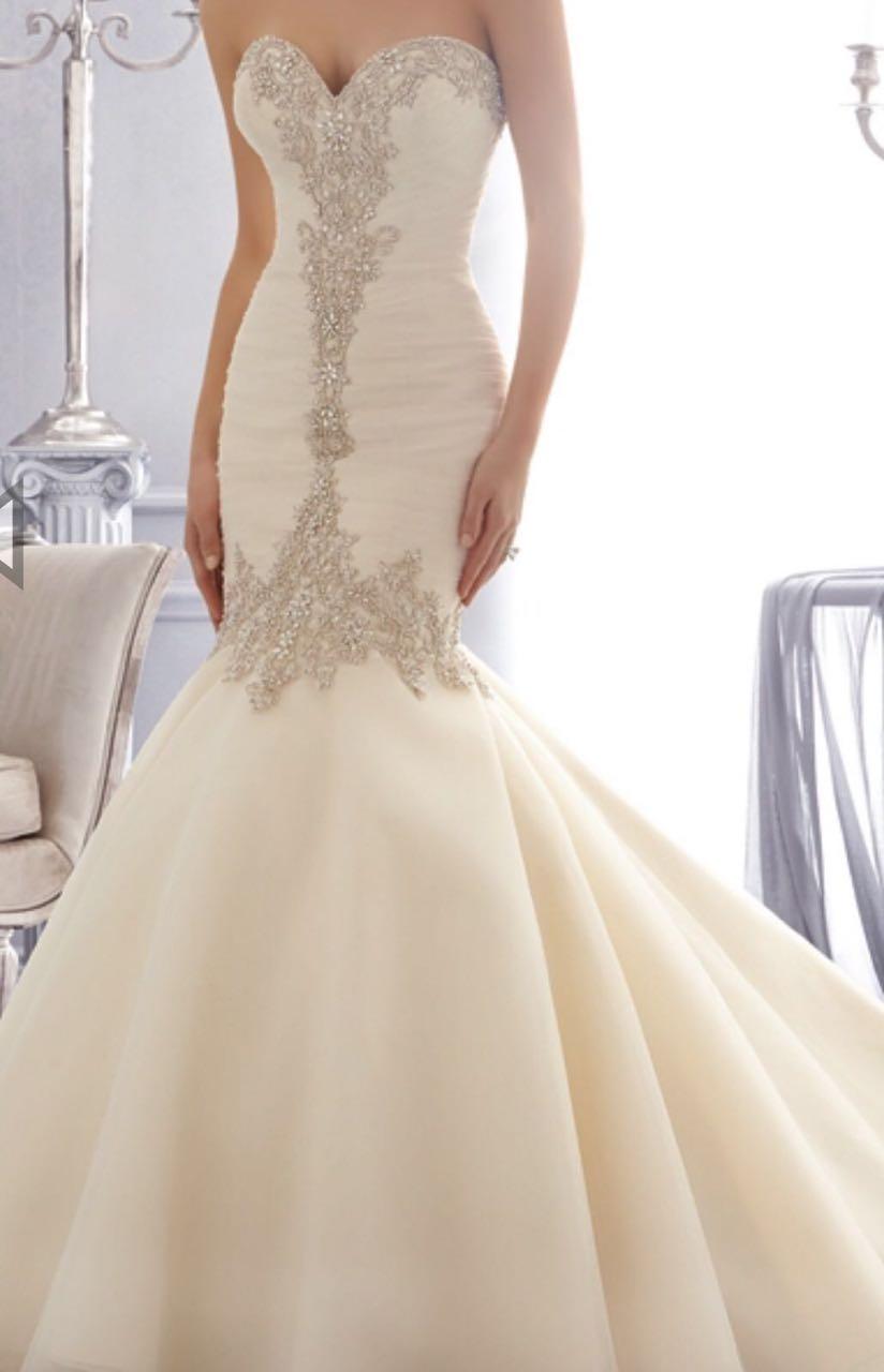 Amazing Elegant Mermaid Bridal Gown Vestido De Noiva Sweetheart Crystals Beads White Organza Women Long Wedding Dresses