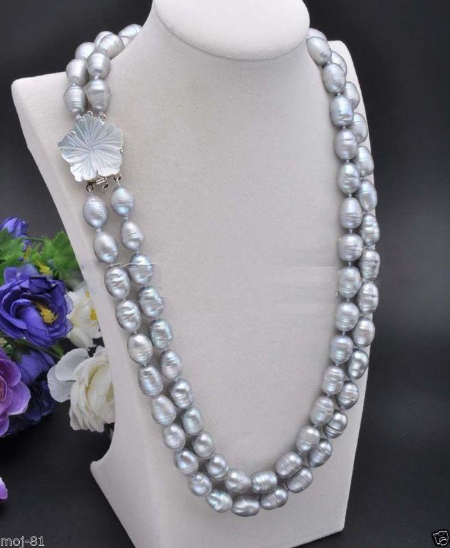 2 Rows 10-11mm Natural Gray Rice Freshwater Cultured Pearl Necklace 18-19 AAA2 Rows 10-11mm Natural Gray Rice Freshwater Cultured Pearl Necklace 18-19 AAA