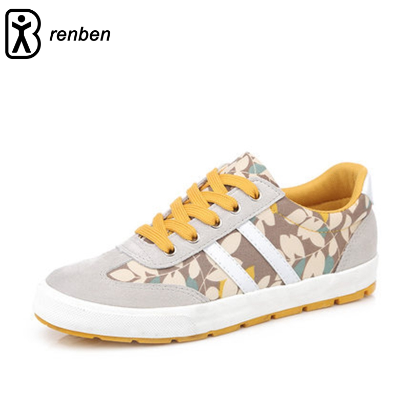 Renben Fahion Floral Style Women Shoes Lace-up Walking Comfortable Platform For Female Flats Shoes characteristic floral and butterfly shape lace decorated body jewelry for women