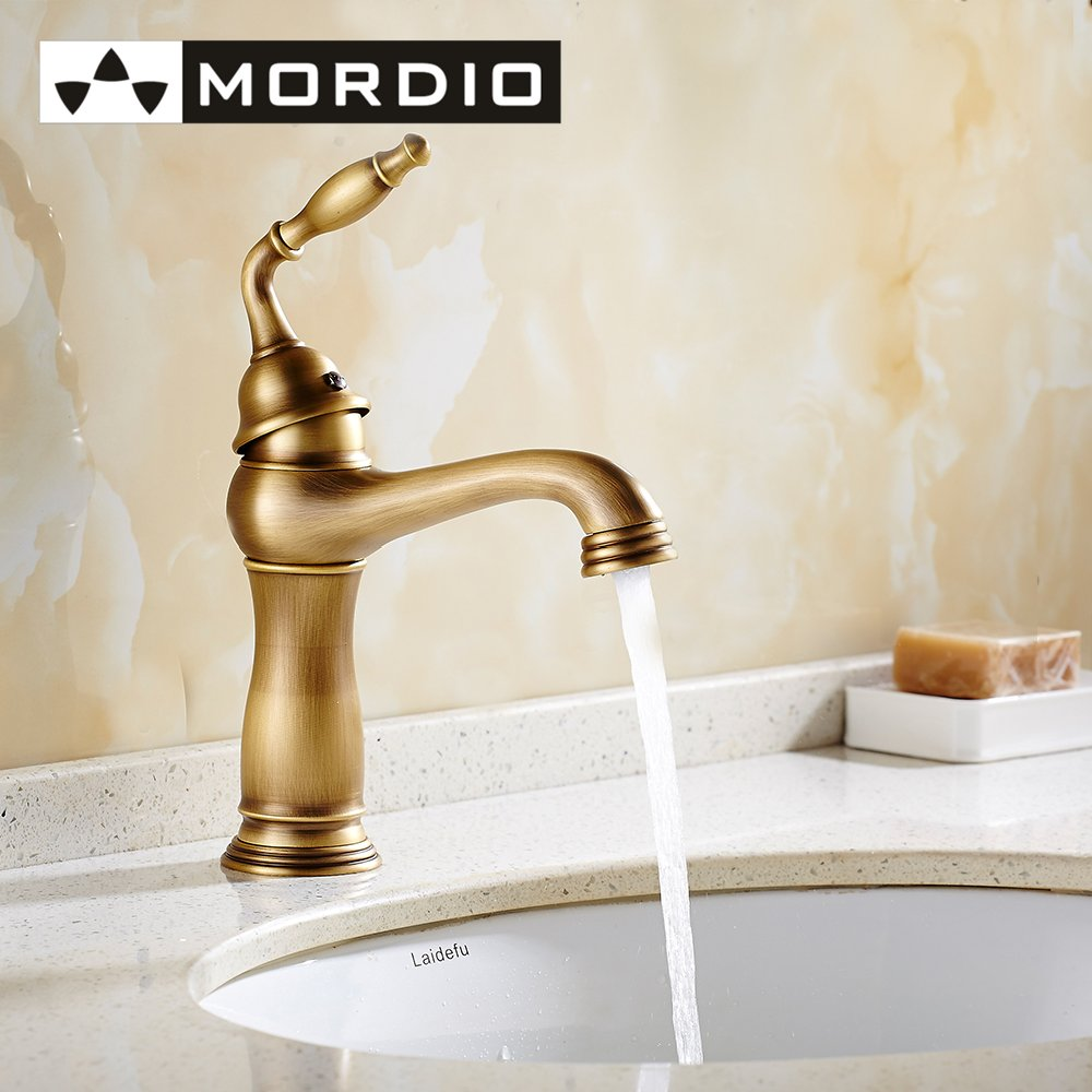 Free shipping antique brass bathroom faucet water taps