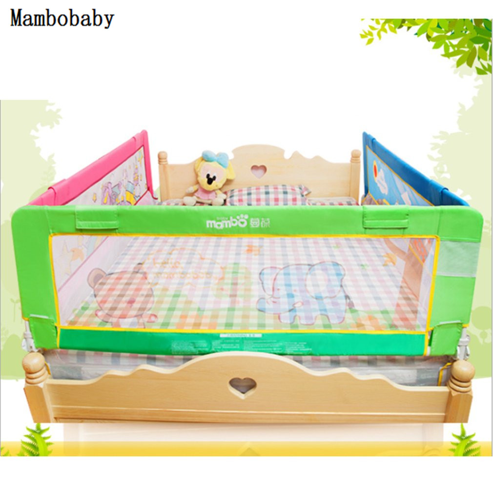 mambobaby кто быстрее Mambobaby Baby Gate Infant Safety Bed 1.5 m Guardrail Heightening Baby Bed Fence Suitable For Universal Bed Fat Elephant Pattern
