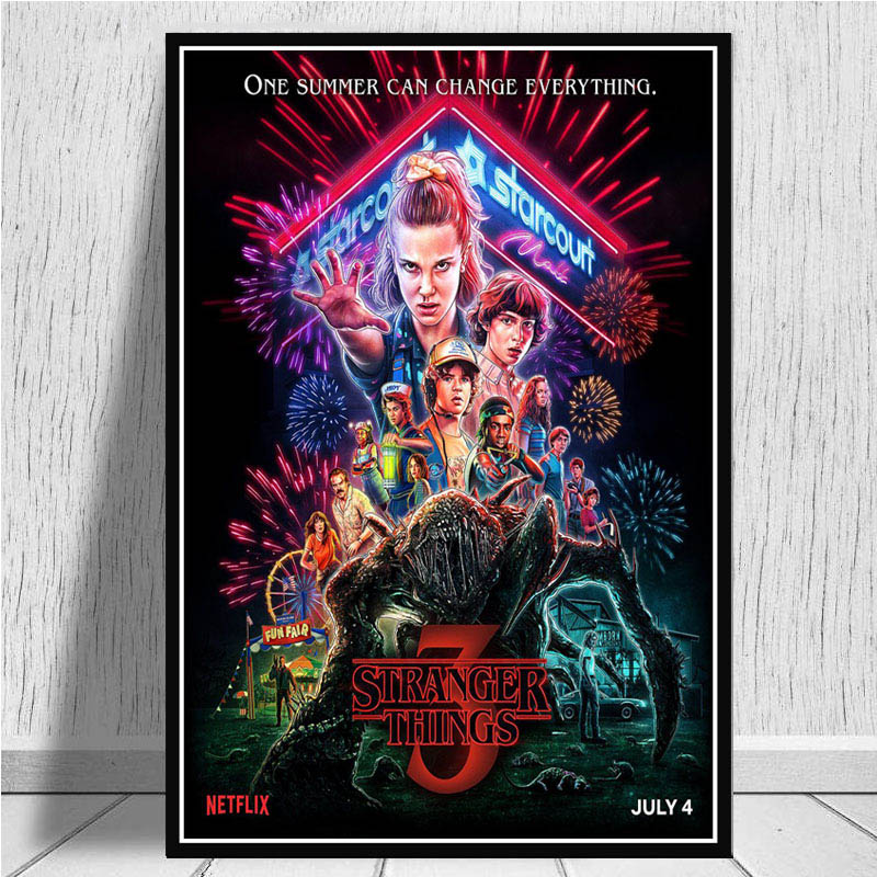 Posters And Prints Hot Movie New Stranger Things Season 3 2 1 Poster Art Wall Picture Canvas Painting For Living Room Home Decor