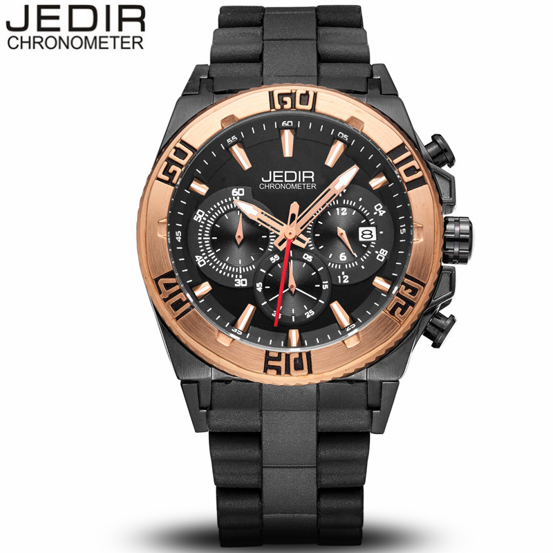 JEDIR Big Dial Military Sports Watches Men Luxury Brand Chronograph Luminous Quartz Watch Rubber Wristwatch relogio masculino mens watches top brand luxury jedir quartz watch chronograph luminous clock men military sport wristwatch relogio masculino