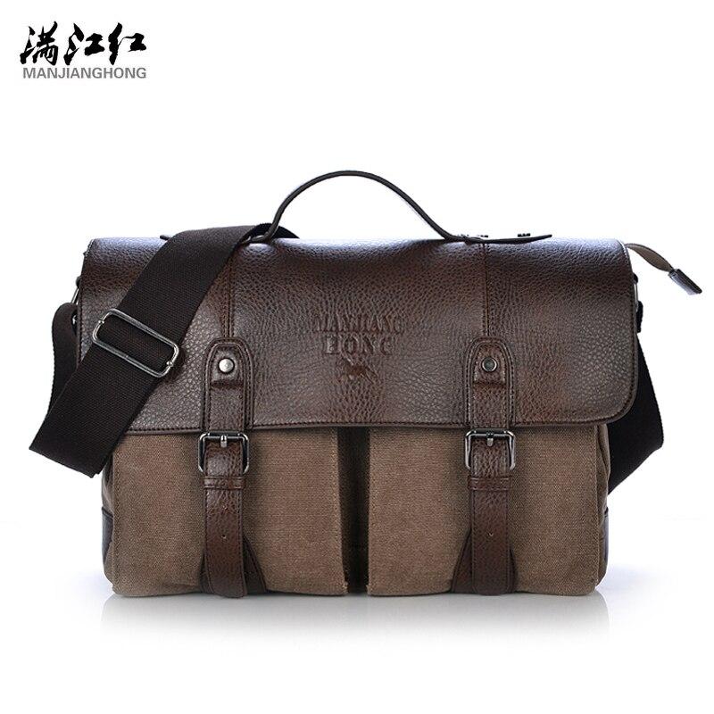 Manjianghong Handbags Men Messenger Canvas Solid Vintage Bag For Travel Bags Brand Canvas Men Messenger Bag Briefcase 1169