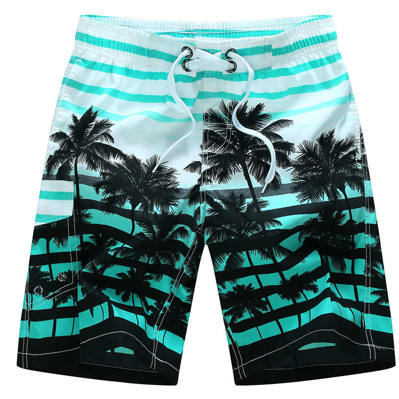 Hawaiin New Summer Men Beach Shorts Quick Dry Coconut Tree Printed Elastic Waist Compression Shorts Simwood Casual Plus Size Men