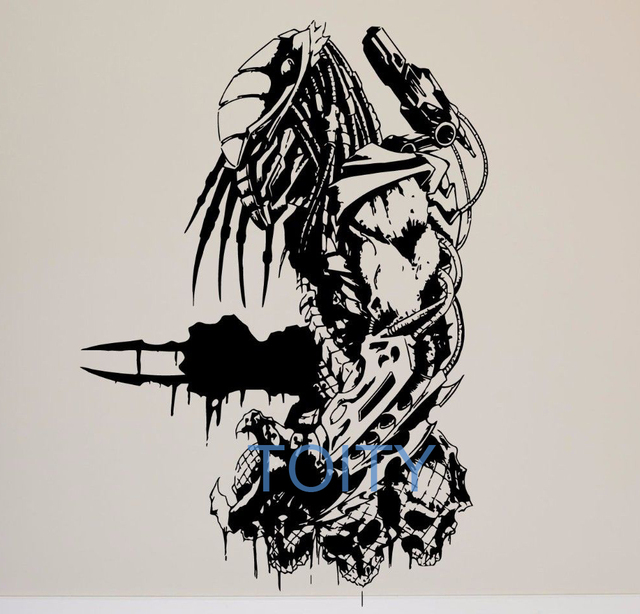Movie predator wall sticker retro action film vinyl decal room decor art mural h82cm x w57cm