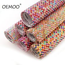 1Pc 24x45cm Square Resin Shiny Colorful Rhinestone Trim Self Adhesive Strass Mesh Applique For DIY Dress Jewelry Card Decor 2 5mm square wave resin rhinestone trim banding hotfix iron on strass mesh bridal beaded applique for diy dress clothes jewelry