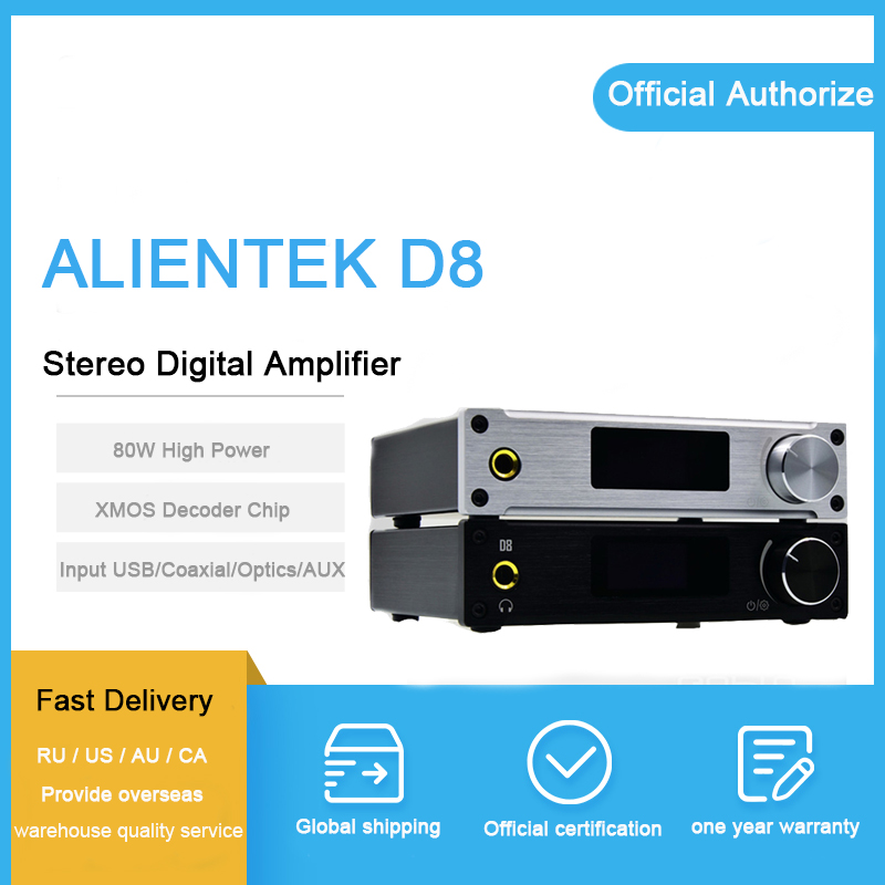 ALIENTEK D8 digital amplifier 2.1 audio usb/Coaxial/Optical/aux Input xmos 24Bit/192KHz DC28V 80W stereo amplificador amp alientek d8 class d xmos 80w 2 mini hifi stereo audio digital amplifier coaxial optical usb amplifier power supply