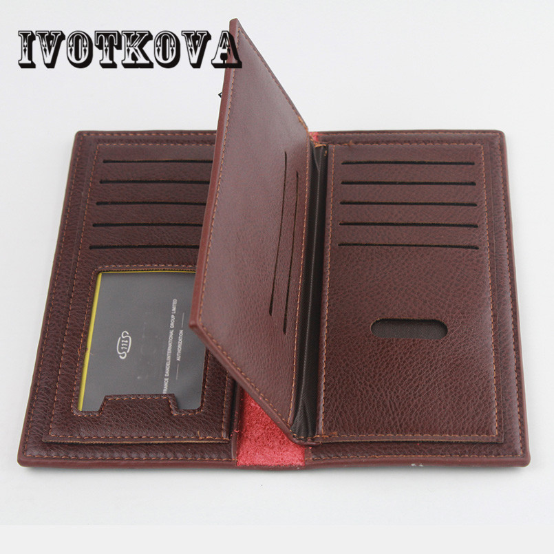 IVOTKOVA Luxury Brand High Quality PU Leather Men Long Bifold Wallet Purse Vintage Designer Male Carteira Money Clip slim wallet