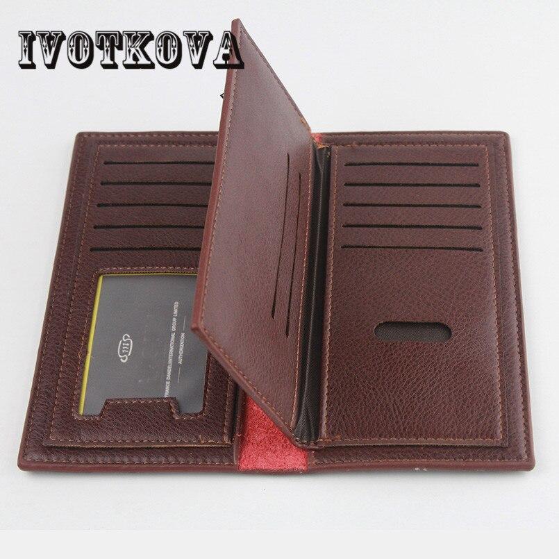 IVOTKOVA Luxury Brand High Quality PU Leather Men Long Bifold Wallet Purse Vintage Designer Male Carteira Money Clip slim wallet