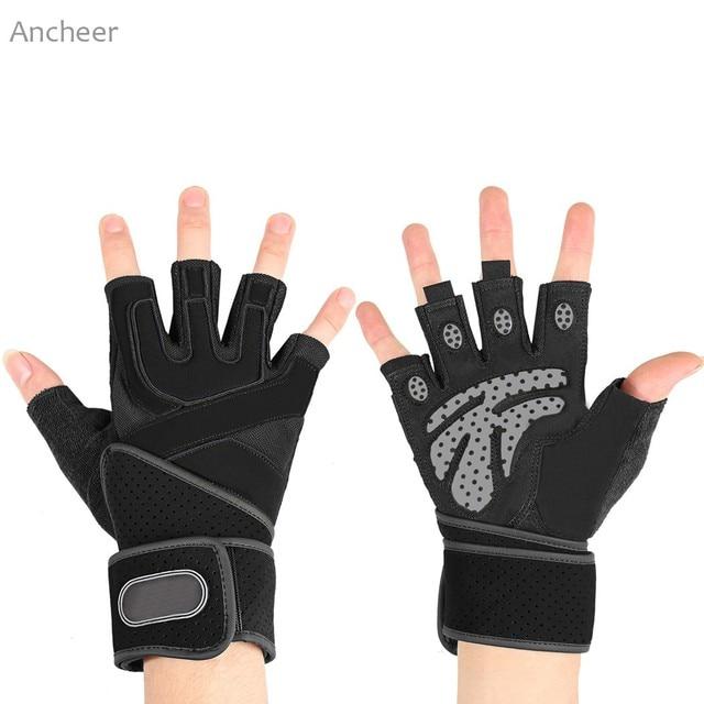ANCHEER 2017 Новый Unisex Взрослых Велоспорт Гребля Вес подъемная Сила Возьмитесь Половина Finger Спорт Упражнение Перчатки Горячие продажа