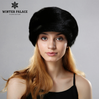 Winter fur hats caps for lady knitted mink rex rabbit fur beanies cap with fur pompom fashion luxury headgear women mink fur hat