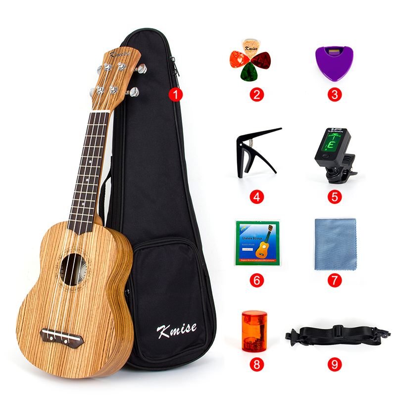 Kmise Soprano Ukulele Ukelele Uke Zebrawood  21 inch Beginner Kit with Gig Bag Tuner Strap String Capo Picks 9 Accessories kmise soprano ukulele spruce 21 inch ukelele uke acoustic 4 string hawaii guitar 12 frets with gig bag