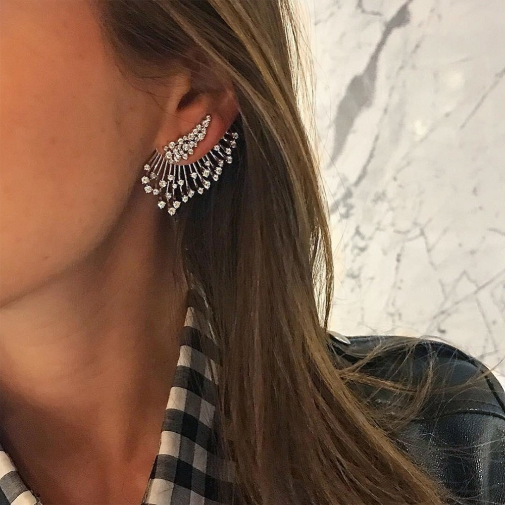 Luxury Design Full Rhinestone Crystal Single Stud Earrings For Women Punk Angel Wing Ear Piercing party Jewelry