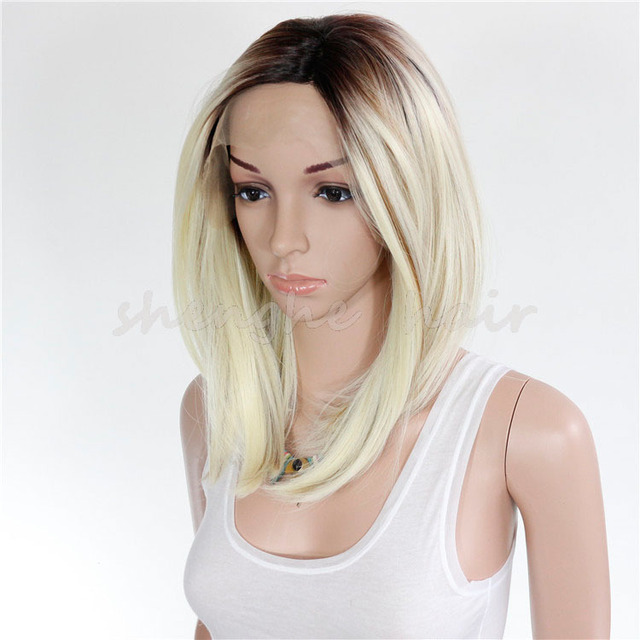 China Hair Supplier wholesale short straight synthetic hair blonde lace  front wig for white women 39146aee2