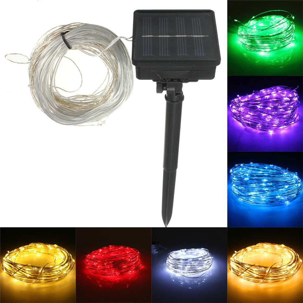 LED Lights Decoration Strip Lights 17M 150 LED Solar Powered Silver Wire String Fairy Light Xmas Party Decor 22m 200 led solar strip light outdoor lighting solar led string fairy lights waterproof for wedding christmas party garden light