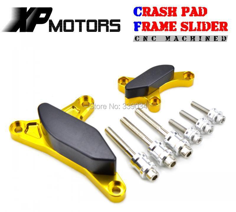 Gold CNC Billet Engine Cover Frame Slider Crash Pad For Yamaha YZF-R1 2007 2008