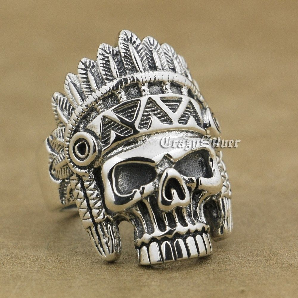 925 Sterling Silver Indian Chief Skull Mens Biker Punk Ring 9W020 US Size 8 ~ 14 r003 skull shaped titanium steel ring black silver us size 8