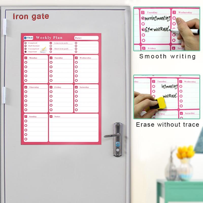 YIBAI 30*42cm A3 Fridge Calendar Magnetic Board Waterproof Weekly Plan Message WhiteBoard For Refrigerator Memo Bulletin Board