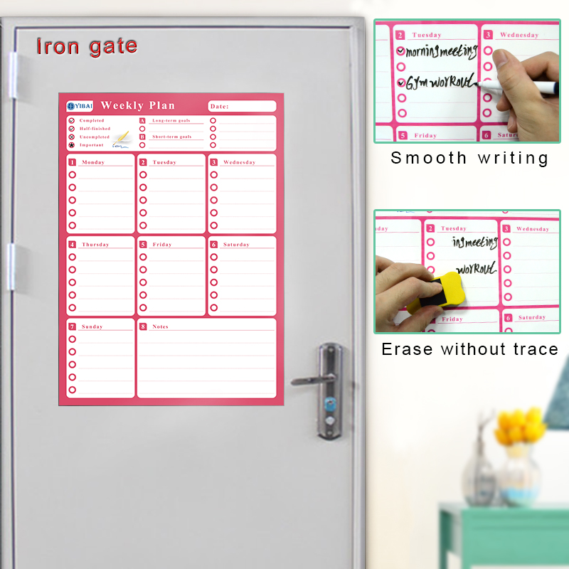 YIBAI A3 Fridge Calendar Magnetic Board Waterproof Weekly Plan Message WhiteBoard For Refrigerator Memo Bulletin Board  30*42cm