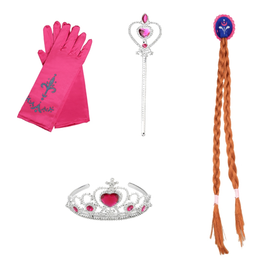 FindPitaya 2-8 Years Girls Elsa Sofia Belle Dress up Accessories Magic Wand Tiara Crown Necklace and Gloves 4 Piece Sets