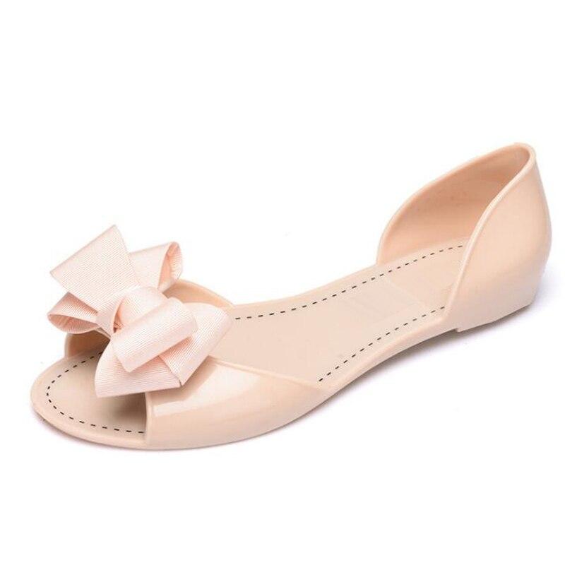 Mujer Sandalias 2018 nueva verano jalea zapatos planos ocasionales de las mujeres moda mariposa-Nudo sandalias para mujeres tamaño 35- 40