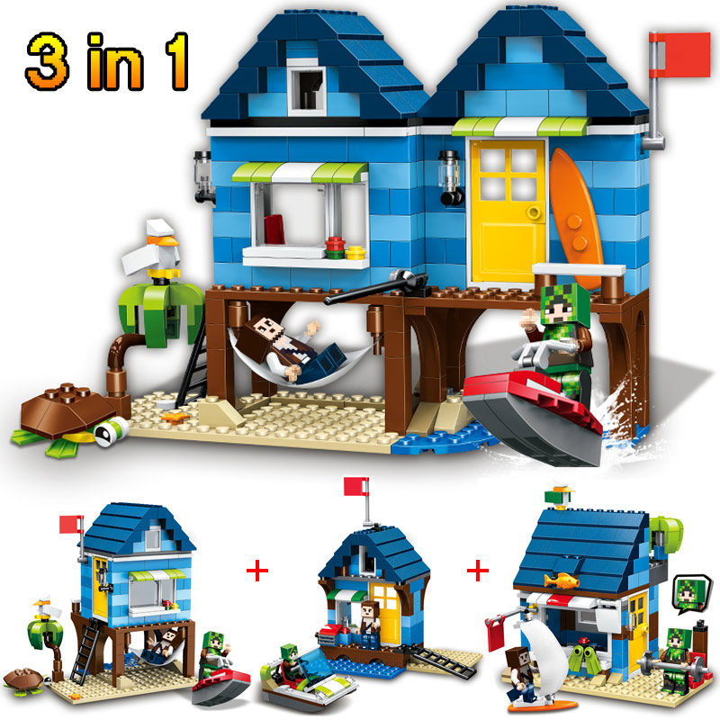 My World Series Beach House Mind World Building Blocks Ocean Bricks Construction Toys Compatible LegoINGLYS Minecrafter 287Pcs lele 2017 new technic compatible legoinglys minecrafter the nether railway building blocks my world educational toys 402 pcs
