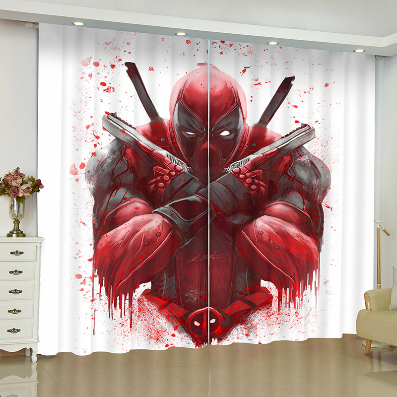 Deadpool Curtains For Window Marvel Super Hero Suicide Squad Blinds Finished Drapes Window Blackout Curtains Parlour Room Blinds