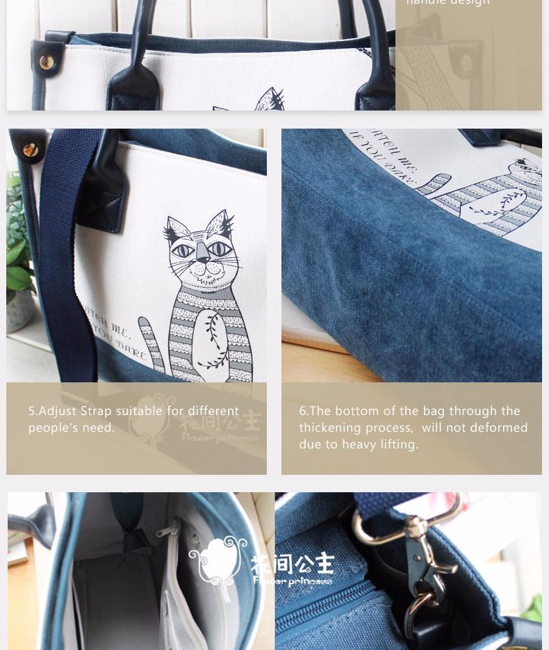Flower Princess Canvas Cat Large Tote Bags Women Handbags Ladies Hand Bags Bolsa Feminina Bolsos Mujer Dames Tassen Borse Donna 10