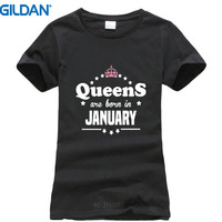 Print Cotton High Quality Gildan Short Sleeve Queens Are Born In January Birthday Crew Neck Short-Sleeve Womens Tee Shirt
