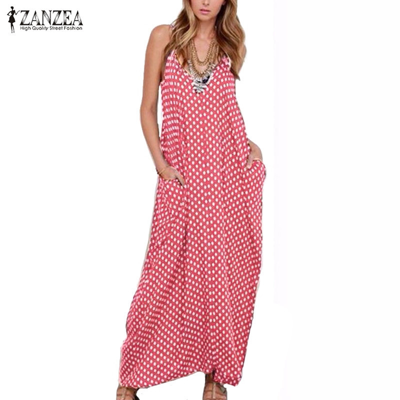 Women's Clothing ... Dresses ... 32576790661 ... 5 ... S-6XL Plus Size Summer Dress 2020 ZANZEA Women Polka Dot Print V Neck Sleeveless Sundress Loose Maxi Long Beach Vintage Dress ...