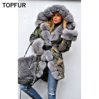 TOPFUR Winter Real Fur Parka Women Military Style Natural Fox Fur Collar And Cuff Luxury Fashion New Thick Warm Real Fur Parka