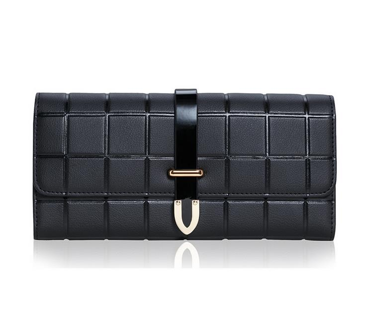 Fashion Women Luxury Wallet Brand Solid Lattice Ladies Long Wallet Genuine Leather Hasp Purse Female Coin Card Holder Clutch casual weaving design card holder handbag hasp wallet for women